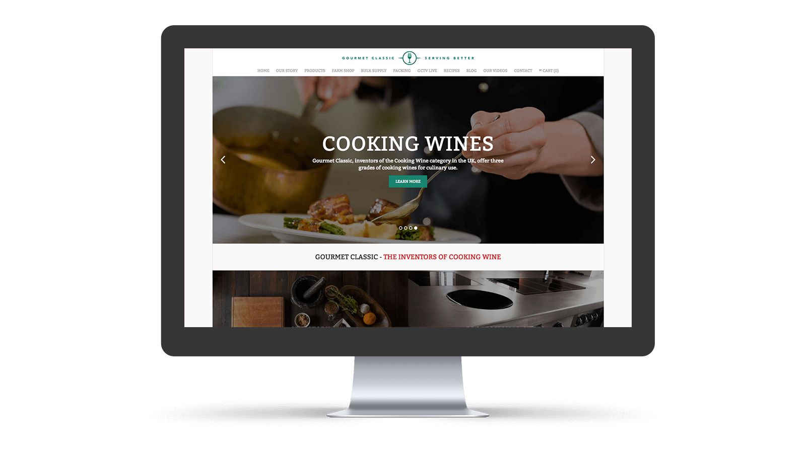 Gourmet Classic home page design
