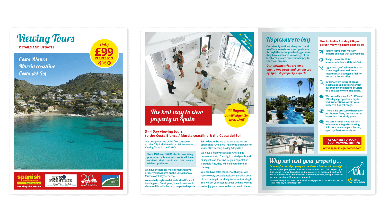 Spanish Legal Homes Viewing Trips brochure design