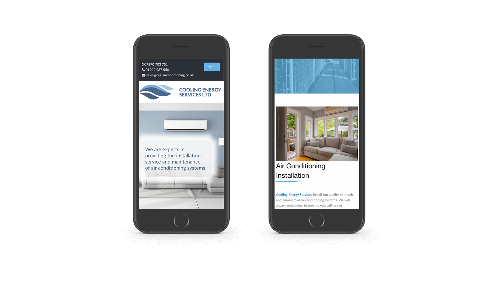 Cooling Energy Services responsive design mobile
