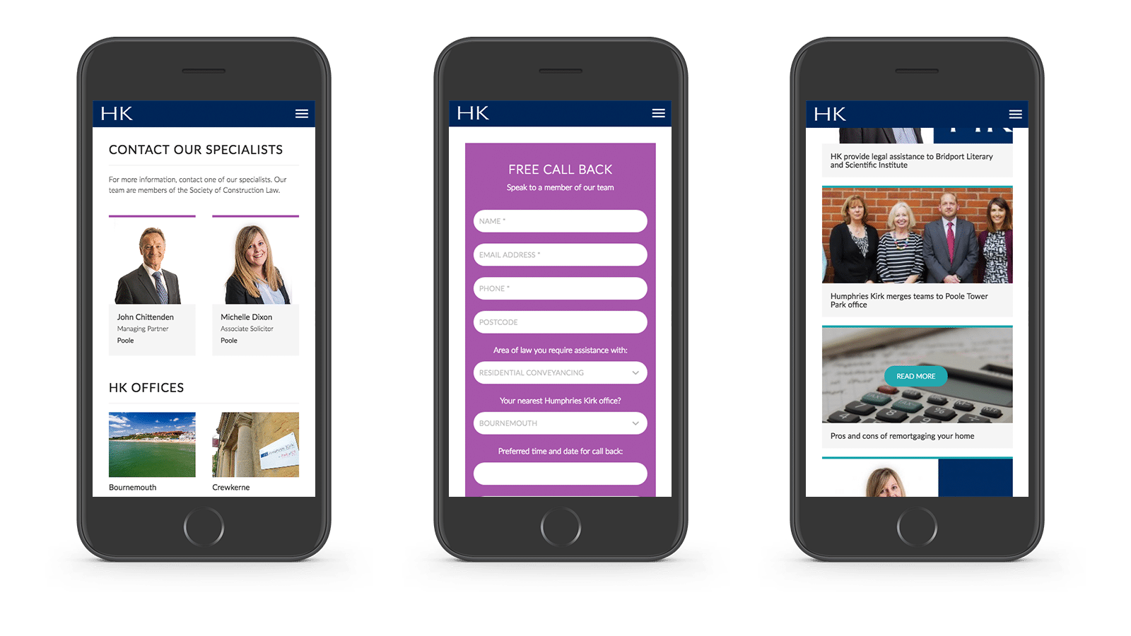 Humphries Kirk website mobile responsive