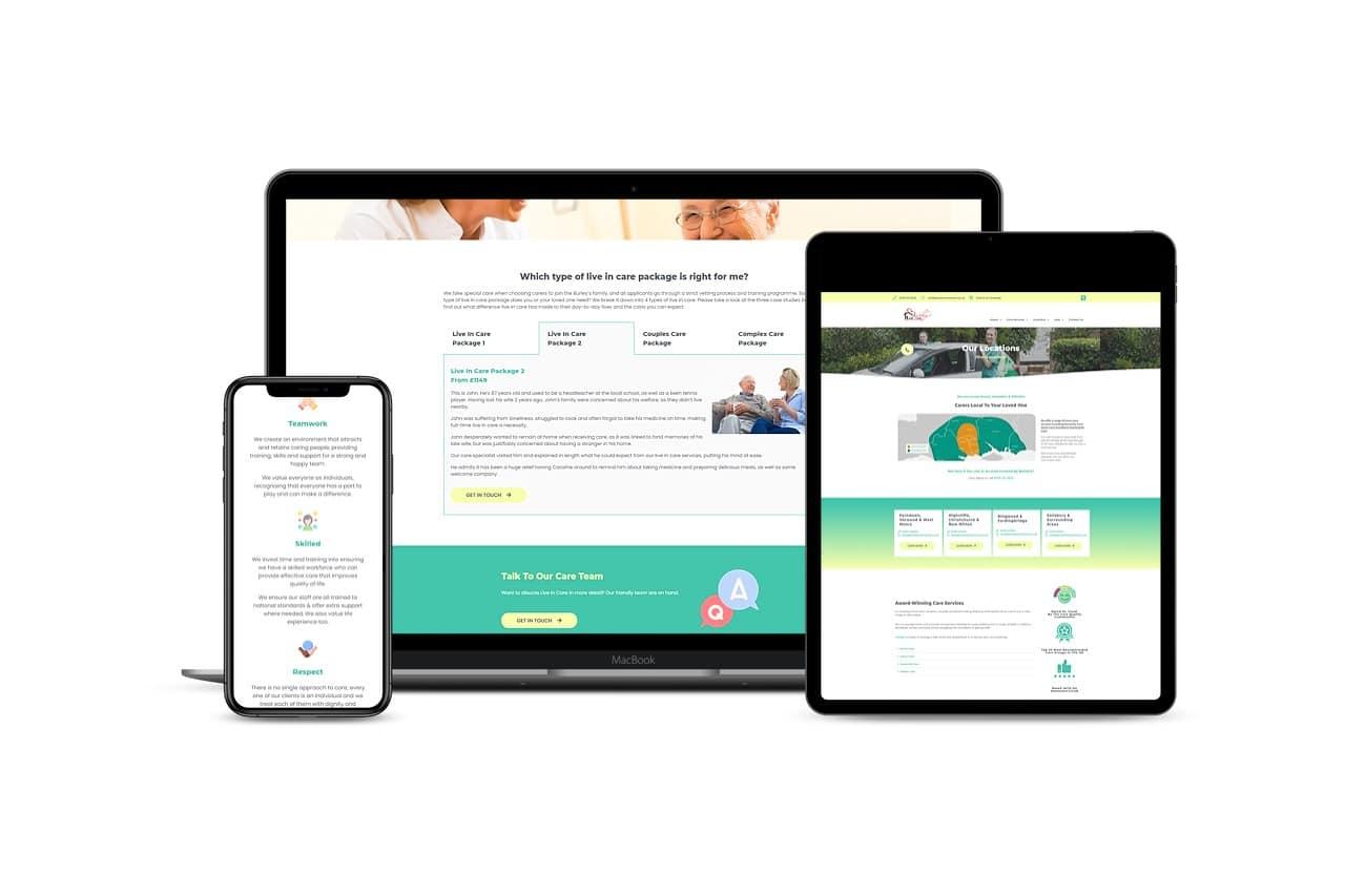 Burley's Home Care website design Case study